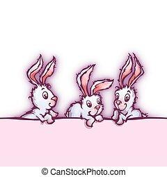 bandiera, carino, vettore, conigli, cartone animato