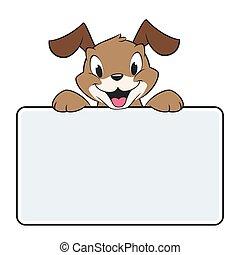 bandiera, cartone animato, cane