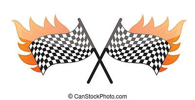 bandiera, checkered, da corsa, urente