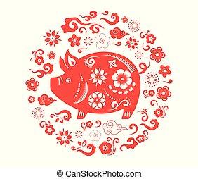 bandiera, cinese, pig., vettore, fondo, anno, 2019, nuovo, felice