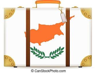 bandiera, cipro, viaggiare, valigia