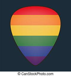 bandiera, cogliere, chitarra, orgoglio, gaio