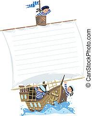 bandiera, con, nave, e, felice, marinai