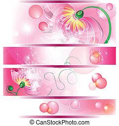 bandiera, con, rosa, fata, fiori