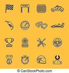 bandiera, corsa, da corsa, linea, icone