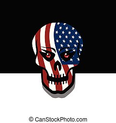bandiera, cranio, stati uniti