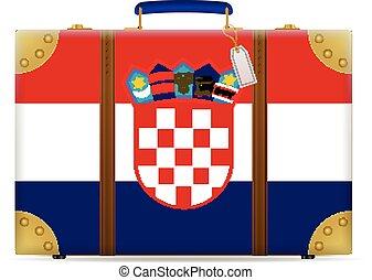 bandiera, croazia, viaggiare, valigia