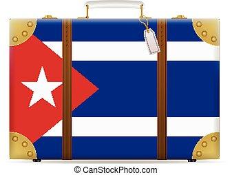 bandiera, cuba, viaggiare, valigia