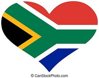 bandiera, cuore, africa, sud