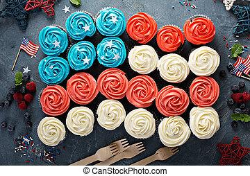 bandiera, cupcakes, luglio, americano, 4