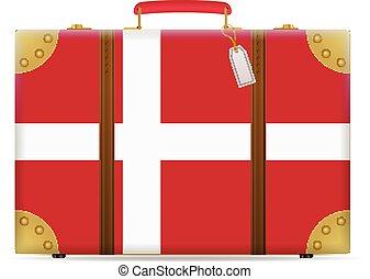 bandiera danimarca, viaggiare, valigia