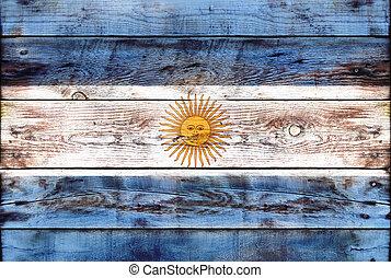 bandiera, di, argentina, dipinto, su, grungy, legno, asse