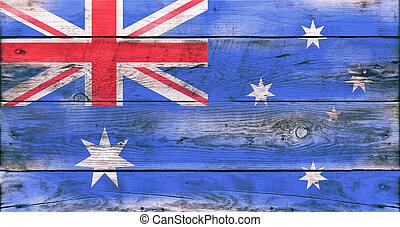 bandiera, di, australia, dipinto, su, grungy, legno, asse