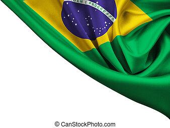 bandiera, di, brasile, raccolto, isolato, bianco