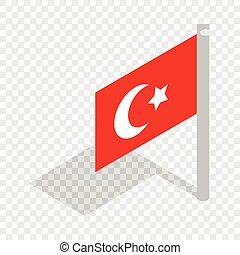 bandiera, di, tacchino, isometrico, icona