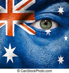 bandiera, dipinto, su, faccia, con, occhio verde, mostrare, australia, sostegno