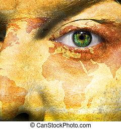 bandiera, dipinto, su, faccia, con, occhio verde, mostrare, bolivia, sostegno
