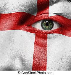 bandiera, dipinto, su, faccia, con, occhio verde, mostrare, inghilterra, sostegno