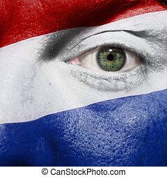 bandiera, dipinto, su, faccia, con, occhio verde, mostrare, paesi bassi, sostegno, in, sport, fiammiferi