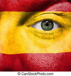 bandiera, dipinto, su, faccia, con, occhio verde, mostrare, spagna, sostegno, in, sport, fiammiferi