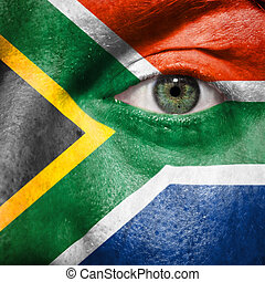 bandiera, dipinto, su, faccia, con, occhio verde, mostrare, sudafrica, sostegno, in, sport, fiammiferi