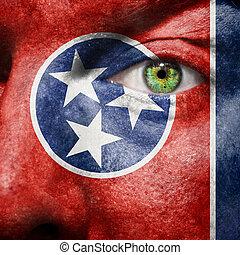 bandiera, dipinto, su, faccia, con, occhio verde, mostrare, tennessee, sostegno