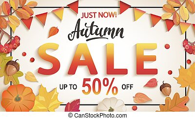 bandiera, discounts., vendita, grande, autunno