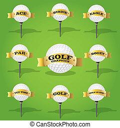 bandiera, disegno, palla, golf, elementi
