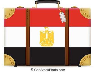 bandiera egitto, viaggiare, valigia