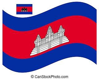 bandiera, eps, cambogia, illustrazione, vettore, 10, onda