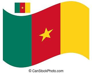 bandiera, eps, vettore, illustrazione, 10, camerun, onda