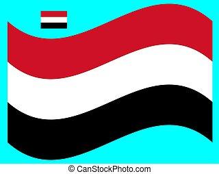 bandiera, eps, yemen, vettore, illustrazione, 10, onda
