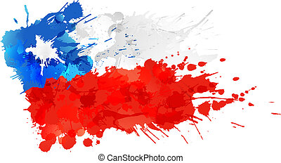 bandiera, fatto, cile, schizzi, colorito