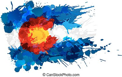 bandiera, fatto, colorado, colorito, schizzi