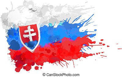 bandiera, fatto, slovacchia, schizzi, colorito