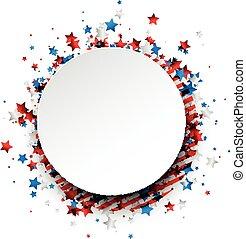 bandiera, fondo., rotondo, americano