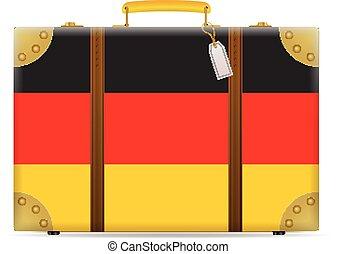 bandiera, germania, viaggiare, valigia