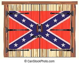 bandiera, granaio, porta, chiuso, confederato