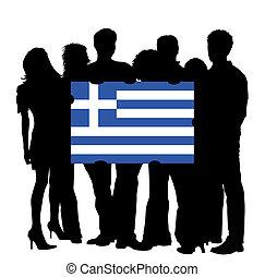 bandiera, grecia, giovani persone
