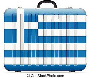 bandiera, grecia, viaggiare, valigia