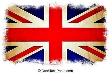 bandiera, grunge, gran bretagna
