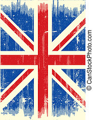 bandiera, grunge, regno unito