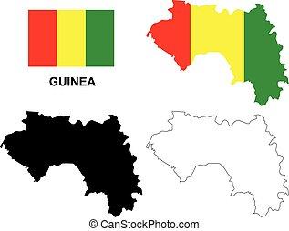 bandiera guinea, vettore, isolato, mappa