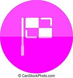 bandiera, icona, -, cerchio, guardalinee