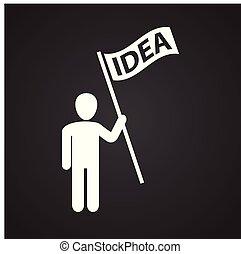 bandiera, idea, coworking, sfondo nero, uomo affari