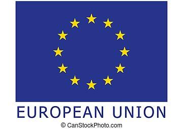 bandiera, illustration., unione, ufficiale, proporzione, colori, vettore, correctly., europeo