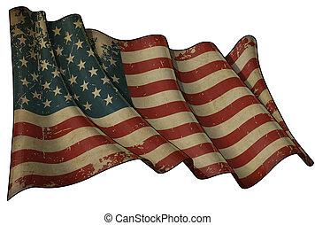 bandiera, invecchiato, stati uniti