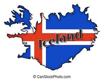 bandiera islanda, mappa
