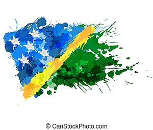 bandiera, isole, fatto, schizzi, colorito, solomon
