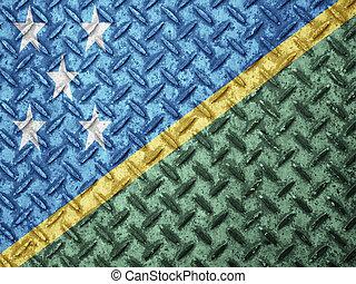 bandiera isole salomone, su, grunge, parete